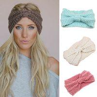 büyük örme baş bantları toptan satış-Kadınlar büyük çocuk Lady Tığ Düğüm Türban Örme Kafa Wrap Hairband Kış Kulak Isıtıcı Kafa 17 renkler Saç Aksesuarları C5618