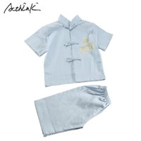 Wholesale dragon tang suit resale online - Children Summer Linen Short Tang Suit for Boys Chinese Style Kids Embroidery Dragon Boys Summer Beach Clothing
