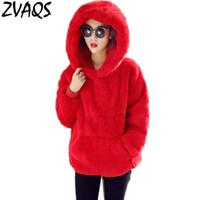 корейский hoodies куртки дамы оптовых-New 2017 Women Hoodies Sweatshirt  Korean Warm Velvet Hooded Fashion Rabbit Fur Women Jacket Ladies Clothing Outwear LX696
