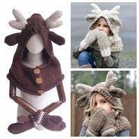 Wholesale grey scarf hat set resale online - Elk Hooded Hat Scarf Gloves in Baby Warm Knitting Caps Christmas Gift kids Hat Glove Set Crocket Hat OOA5988