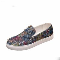 Wholesale shoes pick resale online - 2019 Gold Glitter Shoes Men Fashion Skewers Moccasins Slip On Shoes Sizes Large Picks Rivet Moccasins Men Shoes Flat Loafer size