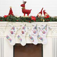 Wholesale hanged women cartoons resale online - Cute Unicorn Christmas Gift Socks Cartoon Kids Xmas Candy Gift Bag Christmas ree Hanging Home Decoration TTA1446