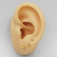 Wholesale plain earrings resale online - 925 Sterling Silver Small Ball Studs Plain gold silver Earring mm mm mm pair set