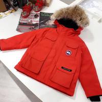 hoodie für kleinkind großhandel-Kids Wolf Pelzmantel Kleinkind Jacke Jungen Mädchen Mäntel Kinder Baumwollkleidung für Winter Daunenmantel Winter Jungen Hoodies