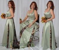 dantelli tam uzunlukta elbise toptan satış-Adaçayı Kamuflaj Uzun Gelinlik Modelleri Onur Abiye Giyim Of 2020 Halter Saten Dantelli A Line Tam Boy Plus Size Düğün Misafir Hizmetçi
