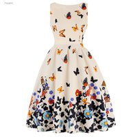 ingrosso vestito chiffon dalla stampa della farfalla-Abito dimensioni Party Print farfalla plus vestito dall'annata 50S donne di estate Rockabilly una linea Casual Stilisti Sundress Vestidos