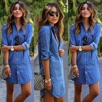 beiläufiges kurzes denimkleid großhandel-Damen Blue Jeans Denim T-Shirt Langarm Beiläufiges Loses Hemd Kurzes Kleid