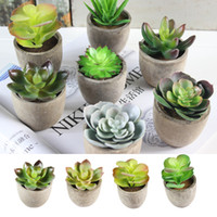 Wholesale miniature wedding flowers resale online - Simulated Succulent DIY Artificial Bonsai Fleshy Flower Art Miniature Landscape Festival Home Fake Flowers Decorations