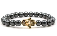 pulseiras de ouro buda venda por atacado-8mm yh53 ouro prata mão de cobre micro pave zircão cz zircônia cúbica pulseira hematita bead buddha yoga pulseiras
