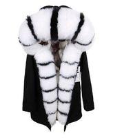 cagoule de renard achat en gros de-Dugujunyi 2019 Longue Veste D'hiver Parka Femmes Real Fox Col De Fourrure Capuchon Naturel Doublure De Fourrure De Fourrure Survêtement Détachable Streetwear