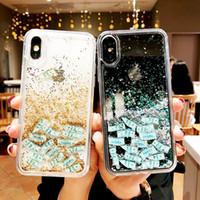 ingrosso cassa di telefono liquido 3d-Glitter 3D Quicksand Dollari Cassa del telefono per iPhone X XS MAX XR 7 8 6 6S Plus Dynamic Liquid Hard PC copertura trasparente per iPhone7 Custodia