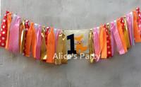 bandera naranja al por mayor-Silla alta personalizada Fox Banner Pink Orange One Woodland 1st Birthday Garland Decoration Jungle Safari Wild one Cake Smash Flag