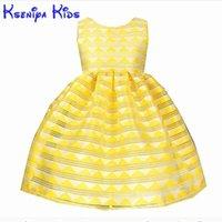 meninas vestido listrado amarelo venda por atacado-Kseniya crianças verão yellow girl dress listrado princesa para meninas de algodão festa de aniversário de casamento das crianças vestidos q190522