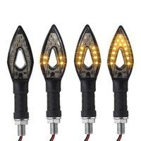 indicador de flujo al por mayor-14 Indicadores de señal de giro de la motocicleta universal que fluyen con LED 12V Luz intermitente flexible Lámpara de luz ámbar 2019