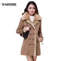меховые манжеты оптовых-2017 Women Winter New Sheep Leather with Sheep Fur Lining Cuff  Fur Collar Outwear lapel long section Sheepskin Overcoat