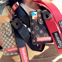 Wholesale cute neck lanyard resale online - SUP Leather Card Holders Bank Card Neck Strap Card Bus ID Holders Cute Lanyard Keychain stlyes