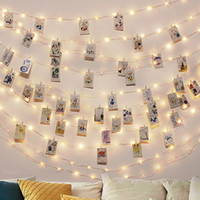 Wholesale led battery garland for sale - Group buy Wedding invitations Photo Clip USB LED String Lights Fairy Lights Outdoor Battery Operated Garland Christmas Decoration Party Wedding