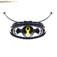 Discount leather bracelets family New Fashion Black Multi Layer Leather Bracelet Yellow Ribbon Glass Cabochon Buckle Punk Weave Bracelets Jewelry Gifts For Family Friends
