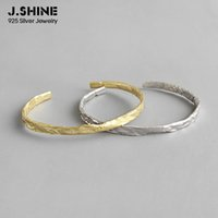 Wholesale two tone gold jewelry set for sale - Group buy JShine Minimalist Two tone Sterling Silver Bracelets Bangles Uneven Surface Open Cuff Bangle Bracelets Fashion Jewelry