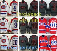 хоккей оптовых-Montreal Canadiens трикотажные изделия для хоккея # 4 Jean Beliveau 9 Maurice Richard 33 Patrick Roy классические белые и красные трикотажные изделия