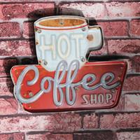 eski reklamcılık toptan satış-Sıcak Kahve Dükkanı Vintage LED Neon Işık Metal Tabelaları Bar Pub Dekoratif Boyama Cafe Duvar Boyama Ev Duvar Dekor Reklam Burcu