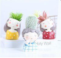 Wholesale small artificial flowering plants resale online - Flower Planter Cartoon simulation plant potted artificial flowers for home shop decorations small potted plants AFS02