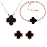 Wholesale rose gold bridal necklace for sale - Group buy 18K Rose Gold Plated Four Leaves Necklace Earrings Bracelet for Women Wedding Jewelry Set Bridal Jewelry Luxury Noble Accessory Set