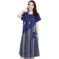 ingrosso abito maxi del manicotto del bicchierino della biancheria-Abito da donna Summer Ladies Cotton Linen Stripe Patchwork Abito longuette Manica corta O Collo Vintage Mid -Calf Vestido Pocket