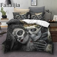 Wholesale skull bedding for sale - Group buy Fanaijia Sugar Skull Bedding Sets King Beauty Kiss Skull Duvet Cover Bed Set Bohemian Print Black Bedclothes Queen Size Bedline