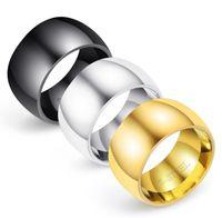 tamanho dos anéis de casamento do noivado venda por atacado-Nova chegada! 11 MM Anel de Aço Inoxidável Banda de Titânio de Prata Preto Homens de Ouro Tamanho 7 a 12 Anéis de Noivado de casamento