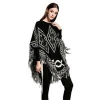 örme figürler toptan satış-Avrupa ve Amerika Yeni Stil Kadın Kazak Gevşek Pelerin Saçaklı Şal Geometrik Şekil Örgü Kadın Kazak