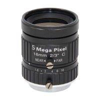 линзы изображение оптовых-Объектив камеры HD 5MP CCTV 16 мм F1.6 Диафрагма 2/3 объектив датчика изображения, объектив 5MP
