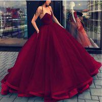 vestidos de noiva sábios venda por atacado-Vestidos de casamento Strapless vermelho escuro vestidos de baile barato 2019 Tulle Satin Sage Backless espartilho vestido de noiva de volta mais tamanho vestido de casamento convidado