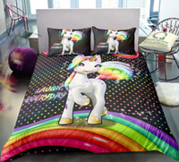 lachen karikatur großhandel-BOMCOM 3D Digitaldruck Bettwäsche Set Happy Unicorn Ständer auf Rainbow Laugh Everyday 3-teilige Bettbezug-Sets 100% Mikrofaser