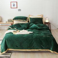 Wholesale bedding fashion bedsheet resale online - Fashion Skin friendly Bedclothes High Density Crystal Velvet Cozy Breathable Bedding Set Duvet Cover Bedsheet Pillowcase Bed Set