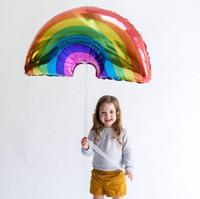 tamanhos de balão de alumínio venda por atacado-Tamanho grande arco-íris balões de festa 93 * 59 CM Folha De Alumínio baloes hot rainbow hélio voando bolas de aniversário decorações do feriado do casamento globos