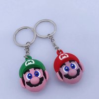 Wholesale pvc figure keychain resale online - super mario bros Key Chains Cute Cartoon Key Ring PVC Anime Figure Keychain Car Key Holder Super Mario figure keyring KKA7529