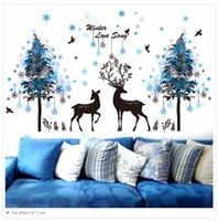 árvores mural pretas venda por atacado-1 Pcs Flocos De Neve Árvores Preto Veados Adesivos de Parede PVC DIY Animal Mural Decalques para Quarto Dos Miúdos Sala de estar Decoração
