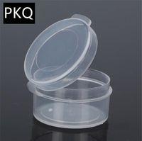 petites couvertures en plastique achat en gros de-150pcs / lot Boîte de rangement en plastique transparent Diamètre 2.9cm Boîte d'emballage de bijoux artisanat avec couvercle Petit récipient en perle