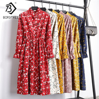 2018 Autumn New Women Mid Calf Dress Feminina Elegant Floral Print Long Sleeves Stand Collar Corduroy Vintage Plus Size D89211f Y190514
