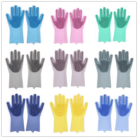 Wholesale windows gift for sale - Group buy Silicone Magic Washing Glove Brush Reusable Household Scrubber Anti Scald Dishwashing Gloves For Pet Kitchen Bathroom Tools Women Gift