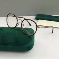 limpador de lentes para óculos venda por atacado-0393OK Ouro Havana Metal Rodada Óculos de Armação de Óculos Lente Limpa 50mm Eyewear Novo com caixa