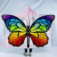 ingrosso farfalla portatile-Coperta a farfalla Coperta in pile Coperta indossabile con cappello Stampato Coperte a farfalla Per adulti Per adulti Inverno Mantelle con cappuccio Felpa avvolgente GGA2201