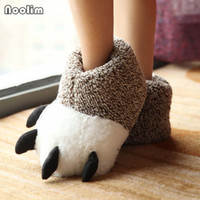 Wholesale slippers claws for sale - Group buy Fashion Thermal Winter Indoor Cotton Padded Plush Cartoon Bear Claw Non slip Slippers Home Cotton Slippers Floor Shoes
