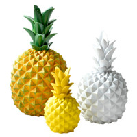 quarto modelo venda por atacado-Resina Amarelo Abacaxi Estatuetas Ornamentos Fruta Modelo Miniaturas Sala de estar Quarto Decoração Artesanato Presentes Acessórios Decor Tamanho M