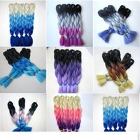 Wholesale ombre braiding hair xpression three tone resale online - Kanekalon Jumbo Braids Hair inch g Ombre three tone color xpression synthetic Braiding hair Extensions