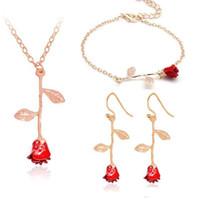 conjunto de brinco de colar de rosa vermelha venda por atacado-New Red Rose Pingente de Colar Pulseira Brincos Conjuntos de Jóias Imitação Rose Jóias Mulheres Acessórios de Moda Amantes Presentes do Dia Dos Namorados