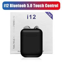 ingrosso auricolari di alta qualità-Auricolari Bluetooth di alta qualità i12 Tws Bluetooth 5.0 Mini auricolari Veri auricolari stereo senza fili Cuffie Auricolare per iPhone Phone