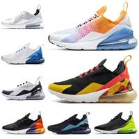 floral shoes оптовых-Nike Air Max 270 airmax FLORAL Обувь для бега для женщин Мужская обувь SE Triple Black White RAINBOW HEEL Мужские спортивные кроссовки 36-45