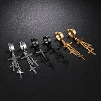 brincos pendentes venda por atacado-Moda Hot Sale Três cruzes Dangle brincos para mulheres dos homens de Hip Hop Estilo Unisex Acessórios de aço inoxidável Jóias